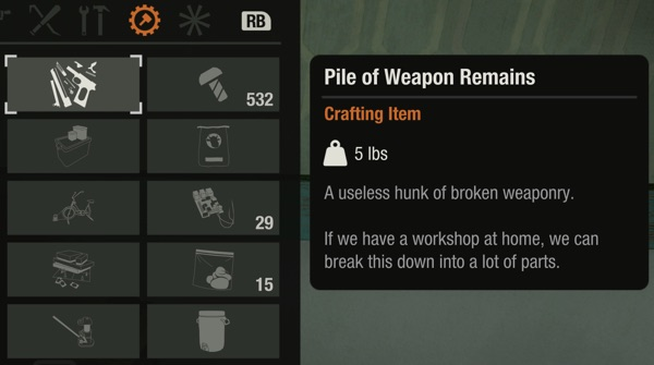 pile of weapon remains