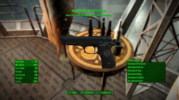 Fallout 4 Beretta M9-FS Pistol